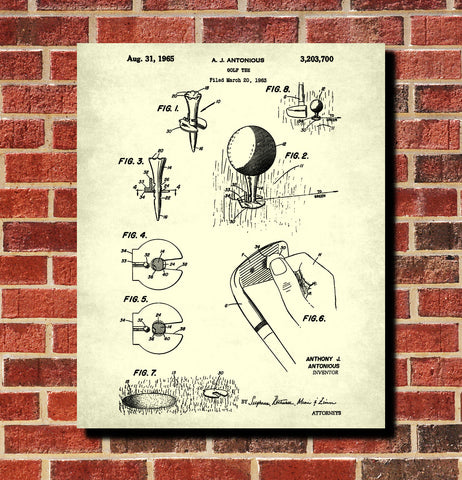 Golf Tee Patent Print Golfing Gift Golfer Poster