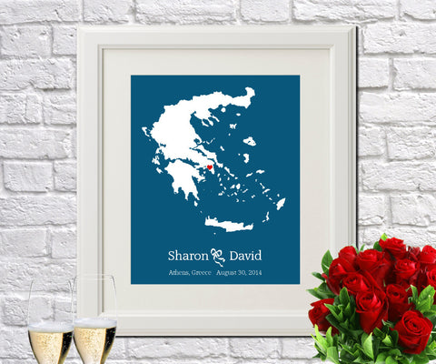 Greece Custom Wedding Engagement Art Print