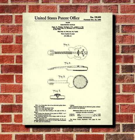 Guitar Poster Musical Instrument Patent Print Music Decor