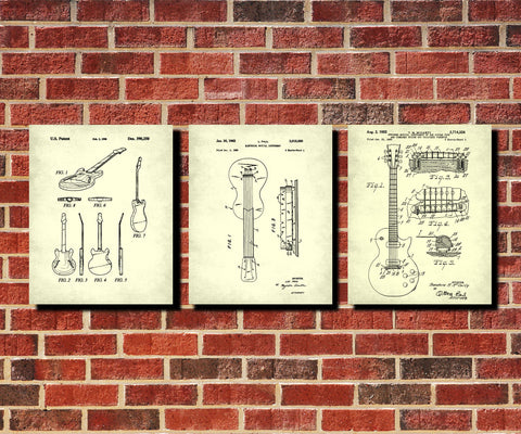 Guitar Patent Prints Set of 3 Guitar Blueprints Guitarist Posters 3B