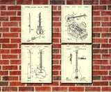 Guitar Patent Prints Set of 4 Guitar Blueprints Guitarist Posters 4C