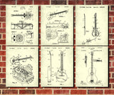 Guitar Patent Prints Set of 6 Guitar Blueprints Guitarist Posters 6B