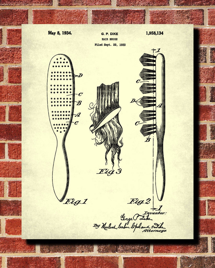 Hair brush patent print hairdressing blueprint salon poster hair brush patent print hairdressing blueprint salon poster malvernweather Images