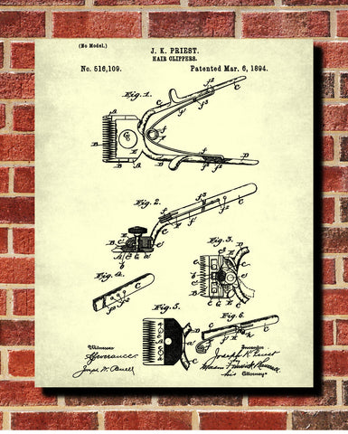 Hairdressing Patent Print Barber Clippers Art Poster