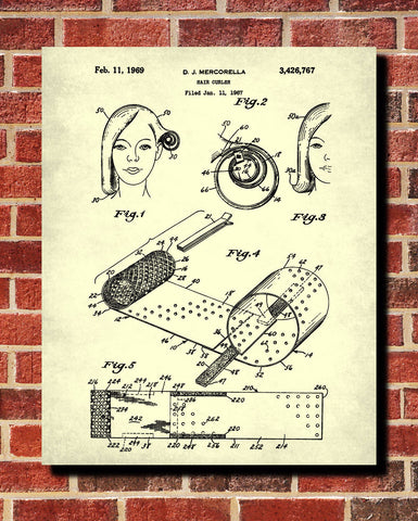 Hair Curlers Patent Print Hairdressing Blueprint Salon Poster - OnTrendAndFab