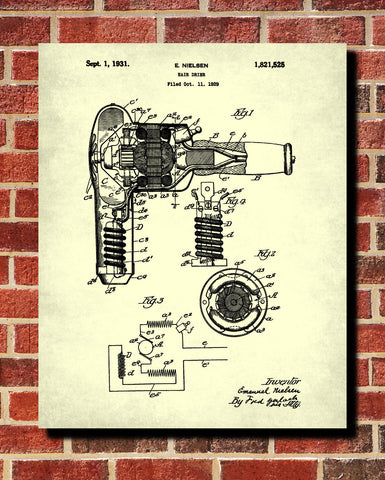 Hair Dryer Patent Print Hairdressing Blueprint Salon Poster - OnTrendAndFab