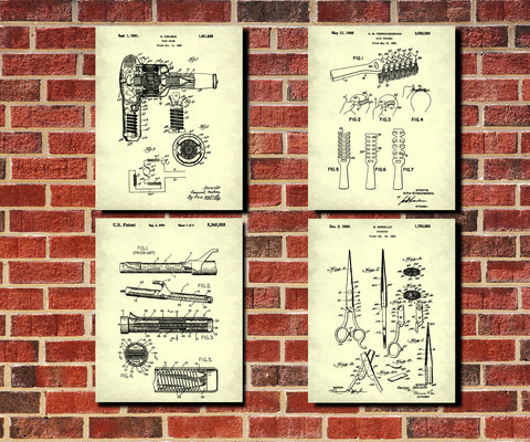 Hair Salon Patent Prints Set 4 Hairdressing Posters - OnTrendAndFab