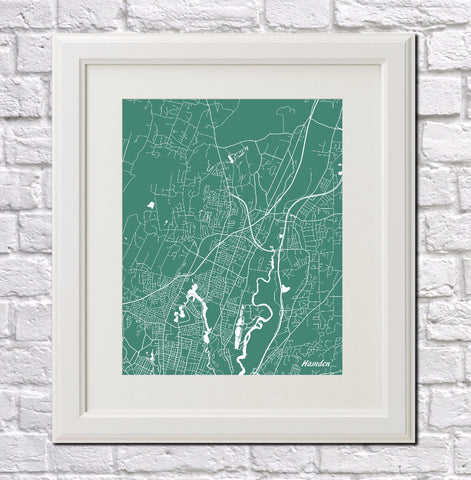 Hamden City Street Map Print Feature Wall Art Poster