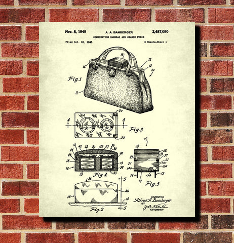 Handbag Patent Print Fashion Accessory Design Blueprint Poster