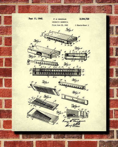 Harmonica Patent Print Musical Instrument Poster Music Wall Art - OnTrendAndFab