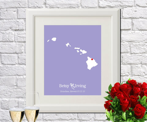 Hawaii Custom Wedding Engagement Art Print