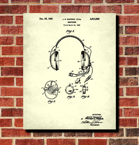 Headphones Patent Print Mic Set Communications Gear Poster