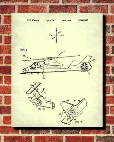 Helicopter Patent Print Military Pilot Blueprint Flying Poster - OnTrendAndFab