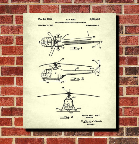 Helicopter Patent Print Pilot Blueprint Flying Poster