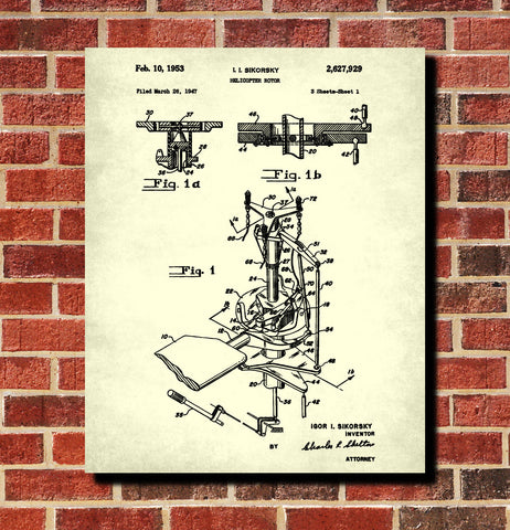 Helicopter Rotor Patent Print Pilot Blueprint Flying Poster