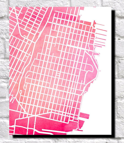 Hoboken New Jersey City Street Map Print Modern Art Poster 7178