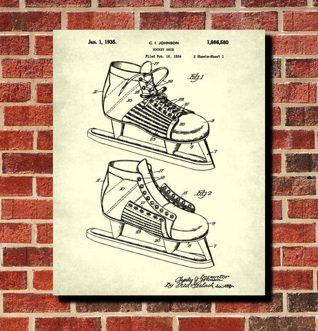 Ice Hockey Skate Boot Patent Print Sports Wall Art