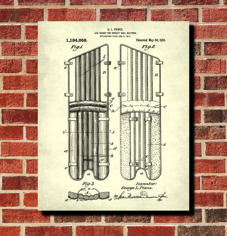 Hockey Leg Guard Patent Print Sports Wall Art
