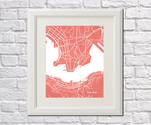 Hong Kong City Street Map Print Modern Art Poster