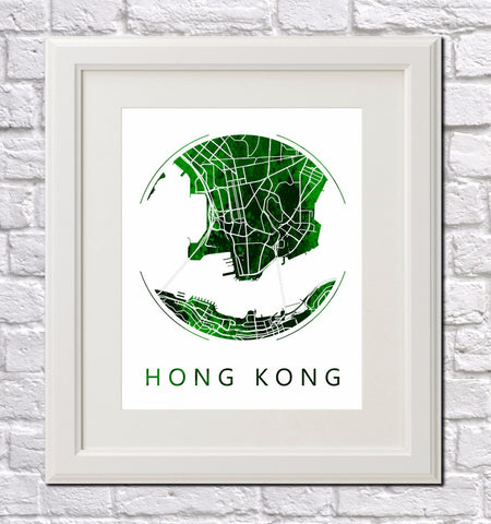 Hong Kong City Street Map Custom Wall Map Poster
