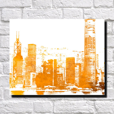 Hong Kong City Skyline Print Landscape Poster Feature Wall Art