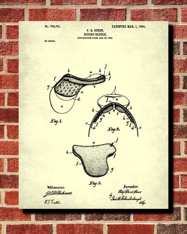Saddle Patent Print Equestrian Blueprint Horse Riding Poster - OnTrendAndFab