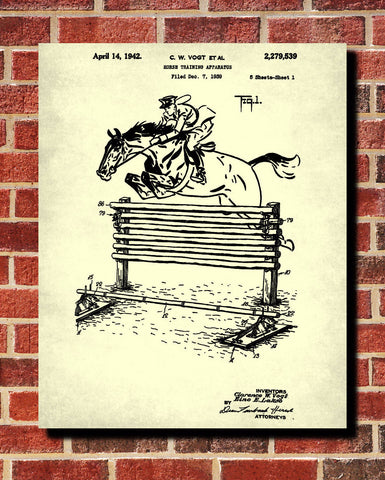 Horse Training Oxer Blueprint Equestrian Patent Print Riding Art Poster - OnTrendAndFab