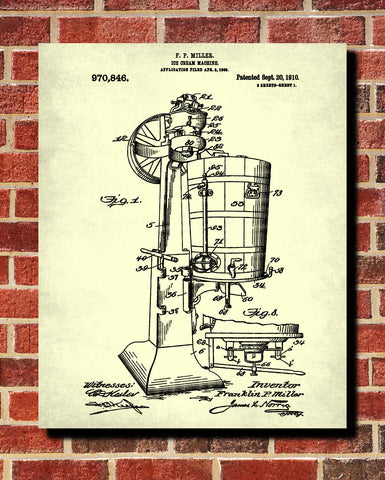 Ice Cream Machine Patent Print Kitchen Wall Art Blueprint Cafe Poster - OnTrendAndFab