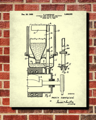 Ice Cream Making Patent Print Kitchen Wall Art Blueprint Cafe Poster - OnTrendAndFab