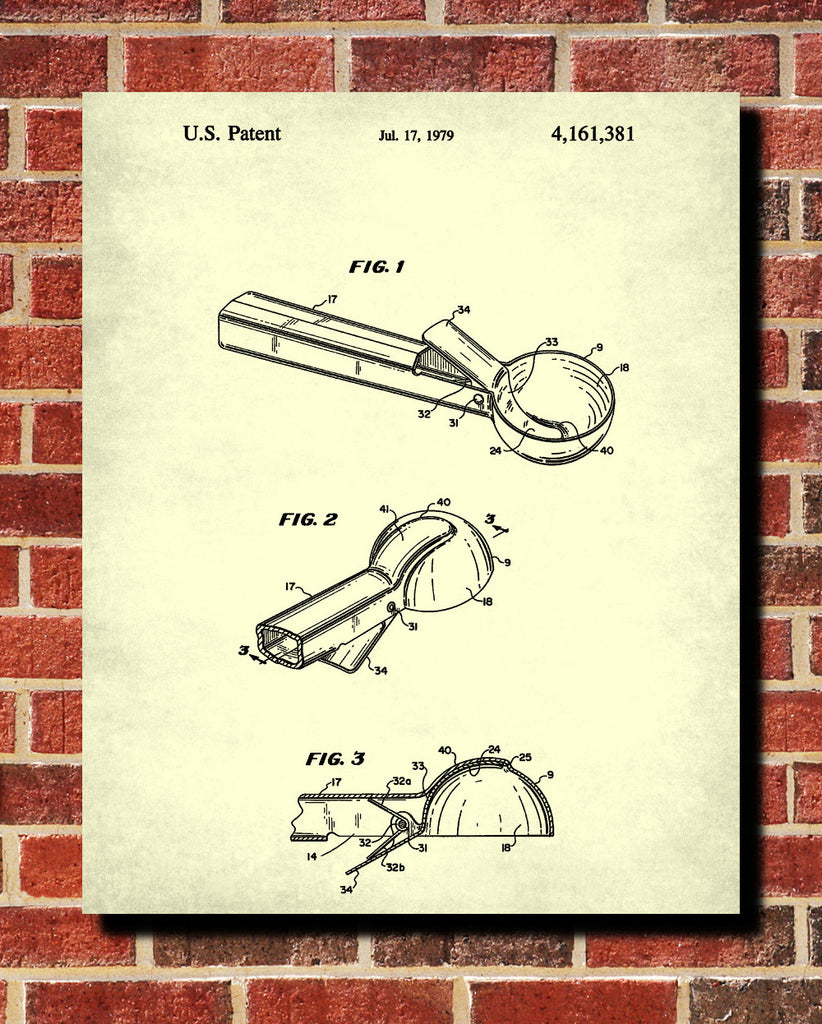 Ice Cream Scoop Patent Print Kitchen Wall Art Blueprint Cafe Poster ...