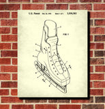 Ice Hockey Poster Skate Boot Patent Print Sports Blueprint