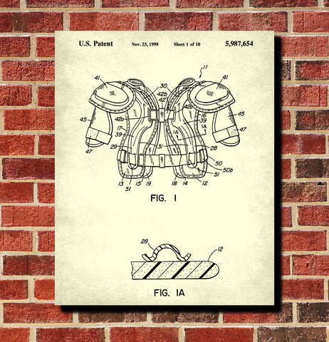Ice Hockey Poster Pads Patent Print Sports Blueprint