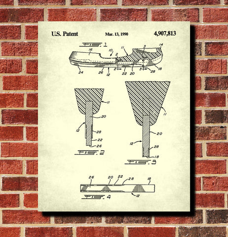 Ice Hockey Poster Skate Blade Patent Print Sports Blueprint