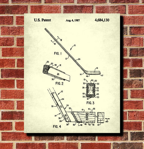 Ice Hockey Poster Stick Blueprint Sports Patent Print