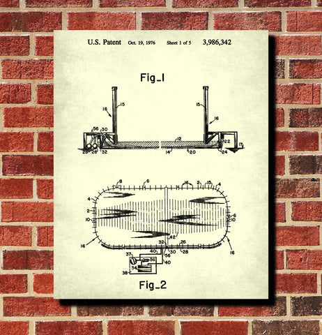 Ice Hockey Poster Ice Rink Fence Patent Print Sports Blueprint