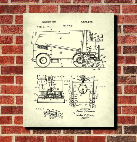 Ice Hockey Poster Zamboni Ice Rink Machine Patent Print Sports Blueprint