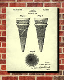 Ice Cream Cone Patent Print Kitchen Wall Art Blueprint Cafe Poster