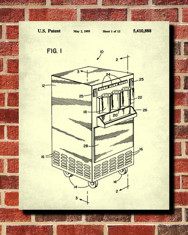 Ice cream maker patent print cafe poster kitchen wall art blueprint ice cream maker patent print cafe poster kitchen wall art blueprint ontrendandfab malvernweather