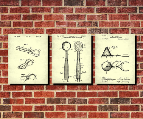 Ice Cream Scoop Patent Prints Set 3 Cafe Posters - OnTrendAndFab