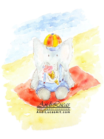 Elephant Ice Cream Cute Children's Nursery Wall Art Print