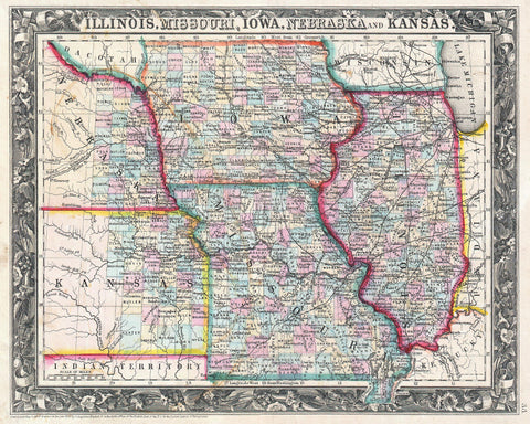 Iowa and Missouri Map Print Vintage Poster USA State Old Map as Art - OnTrendAndFab