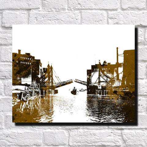 Buffalo Jack Knife Bridge Print City Landscape Poster Feature Wall Art