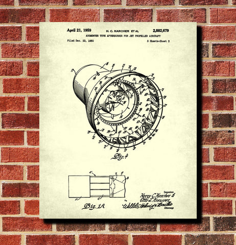 Jet Engine Afterburner Patent Print Airplane Wall Art Aviation Poster