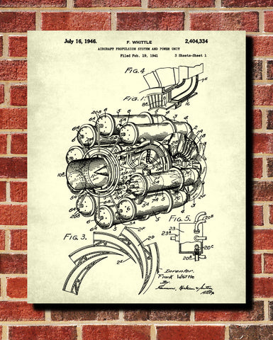 Jet Engine Blueprint Aircraft Patent Print Airplane Wall Art Poster - OnTrendAndFab