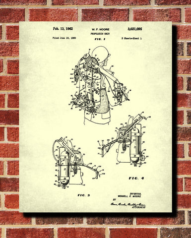Jet Pack Blueprint Jetpack Patent Print Flying Wall Art Poster - OnTrendAndFab