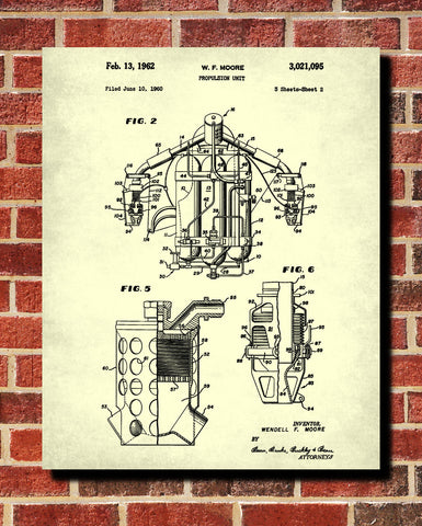 Jetpack Blueprint Jet Pack Patent Print Flying Wall Art Poster - OnTrendAndFab
