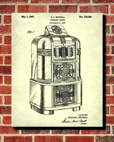 Jukebox Patent Print Music Blueprint Man Cave Poster - OnTrendAndFab