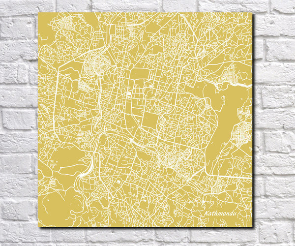 Khatmandu, Nepal Street Map Print Custom Wall Map 7181S