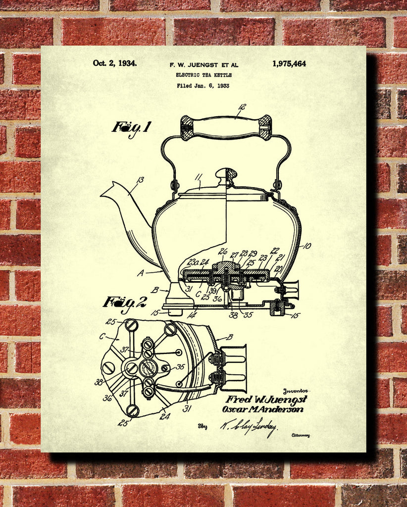 Tea patent print kettle blueprint cafe kitchen poster ontrendandfab tea patent print kettle blueprint cafe kitchen poster malvernweather Choice Image