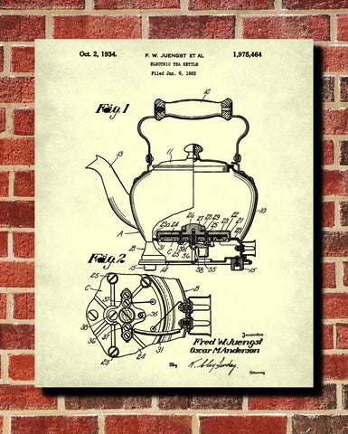 Tea Patent Print Kettle Blueprint Cafe Kitchen Poster - OnTrendAndFab
